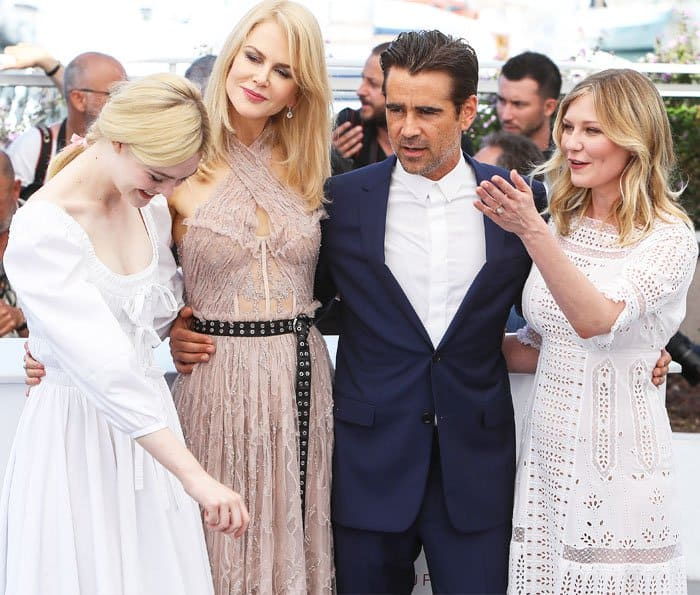 The actresses are joined by the only thorn among the roses, Collin Farrell