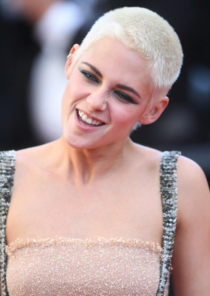 Kristen Stewart wearing a nude bandeau