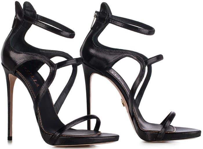 Black Le Silla 'Award' Sandal in Fiesta, Metallizzed fabric