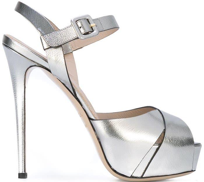 Le Silla metallic open toe platform sandals