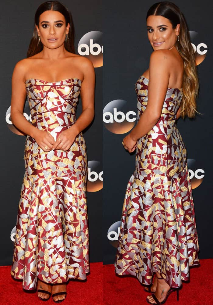 Lea shows off her beautiful embroidered dress from J. Mendel