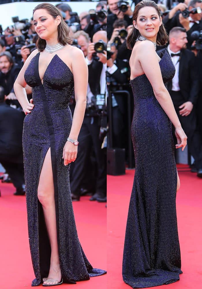 Marion sparkled in a sexy strapless number from Armani Privé