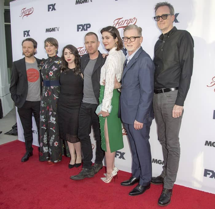 Carrie Coon, Olivia Sandoval, Ewan McGregor and Mary Elizabeth Winstead with the show's producers attending the For Your Consideration Event for 'Fargo' at the Saban Media Center in Los Angeles, California
