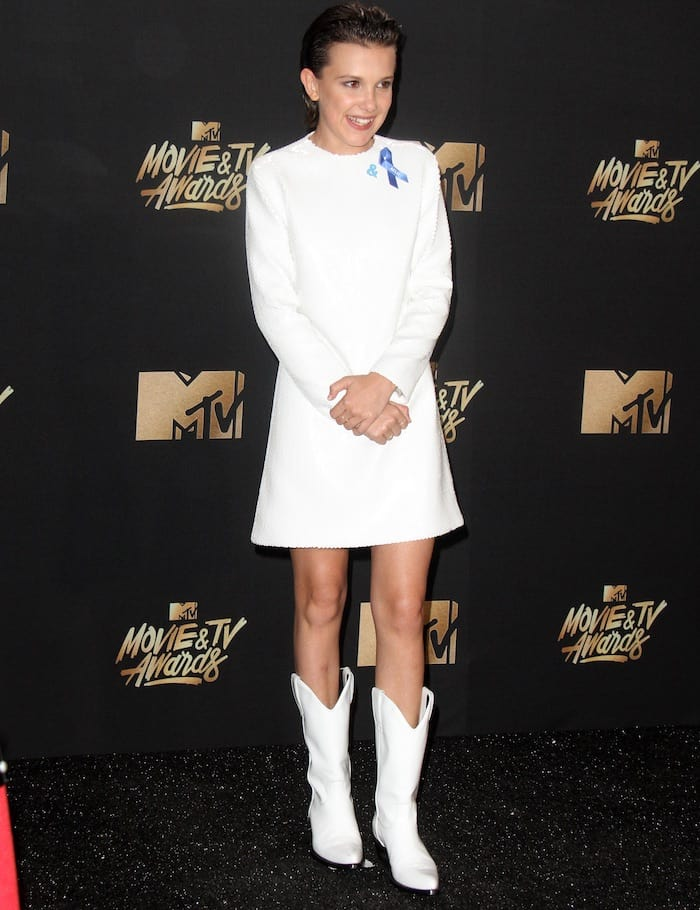 Millie Bobby Brown in Calvin Klein at the 2017 MTV Movie & TV Awards at the Shrine Auditorium in Los Angeles on May 7, 2017