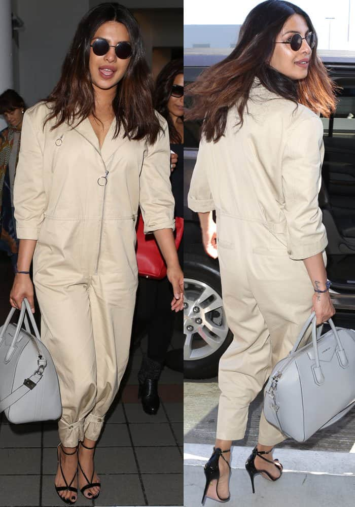 Priyanka landed back at LAX in a jumpsuit by Frame
