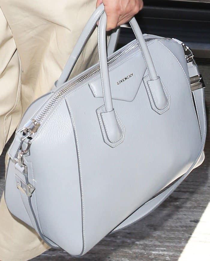 Priyanka dons a stylish dove gray tote by Givenchy