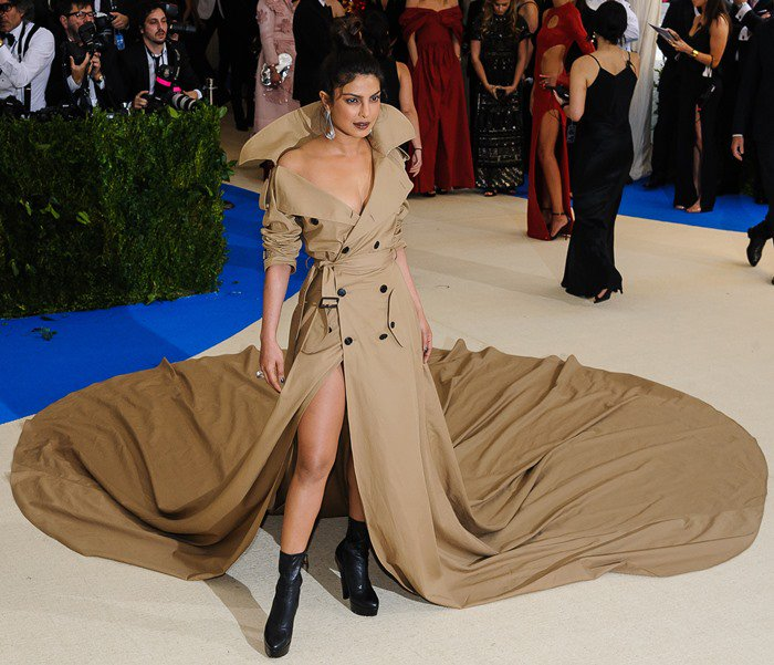 Priyanka Chopra wearing a gorgeous trench coat dress at the 2017 Metropolitan Costume Institute Benefit Gala held at the Metropolitan Museum of Art in New York City, on May 1, 2017