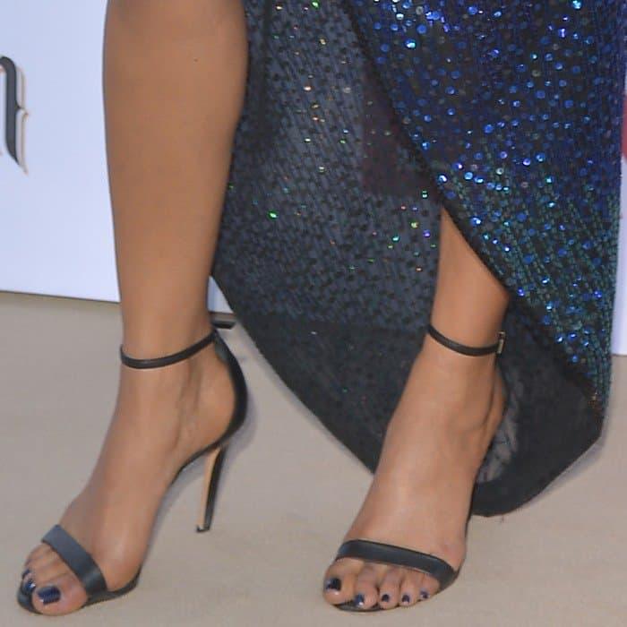Priyanka Chopra wearing ankle-strap sandals from Schutz