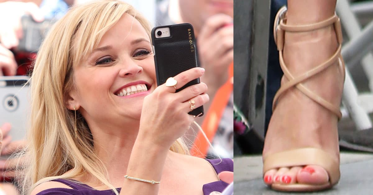 ae02c2bbfe0 Starstruck Reese Witherspoon in Purple Dress and  Choca  Sandals