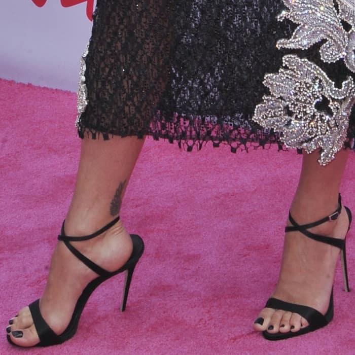 Rita Ora in black Giuseppe Zanotti 'Dionne' sandals