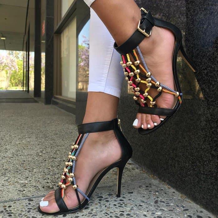 Colorful Rope 'Roro' Sandals With Gold Round Ornaments