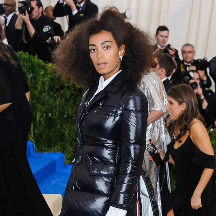 Solange Knowles wearing head to toe Thom Browne Fall 2017 at the 2017 Metropolitan Costume Institute Benefit Gala held at the Metropolitan Museum of Art in New York City, on May 1, 2017