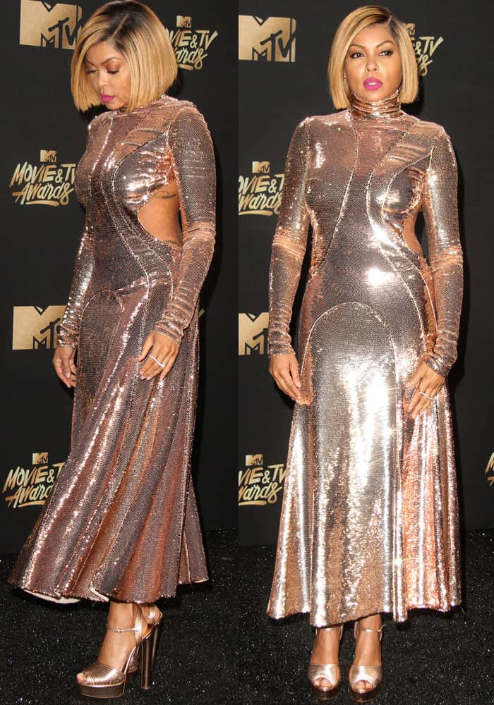 Taraji P. Henson catches everyone's attention in a show-stopping metallic dress by Emilio Pucci