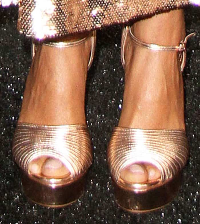 Taraji P. Henson rocked quilted metallic platform sandals by Casadei