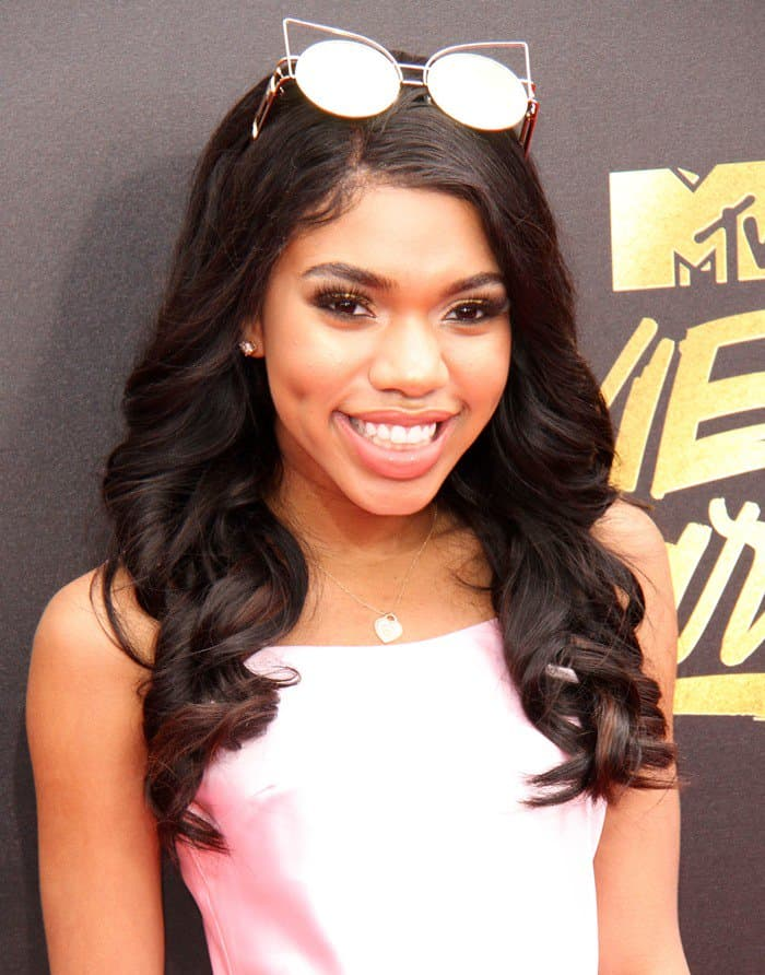 Teala Dunn in Dyspnea mini slip dress at the 2017 MTV Movie & TV Awards held at the Shrine Auditorium in Los Angeles on May 7, 2017
