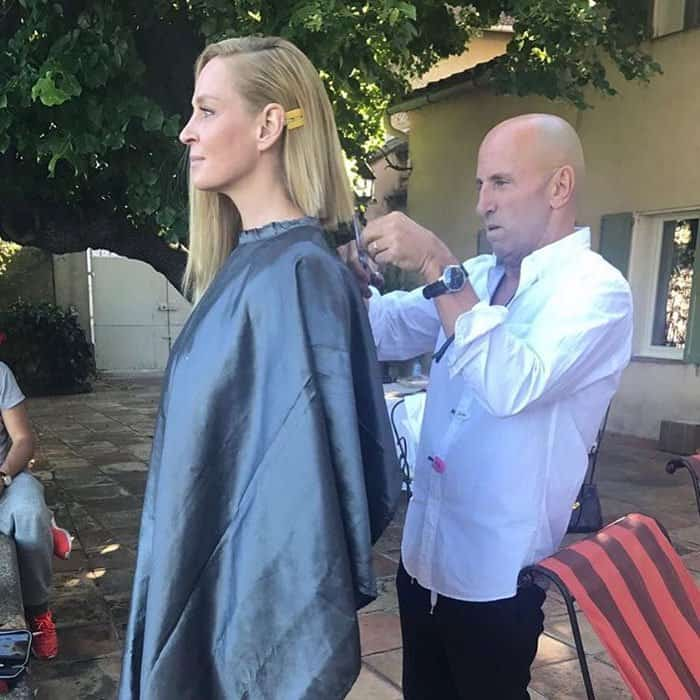 Uma uploads a photo of her haircut from her hairstylist in Cannes