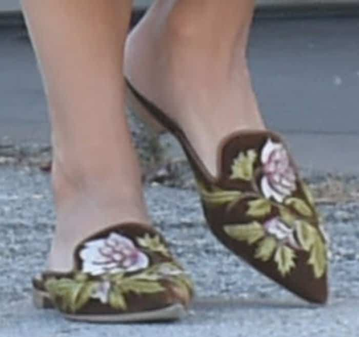Vanessa added a touch of print to her outfit with a pair of Alberta Ferretti mules
