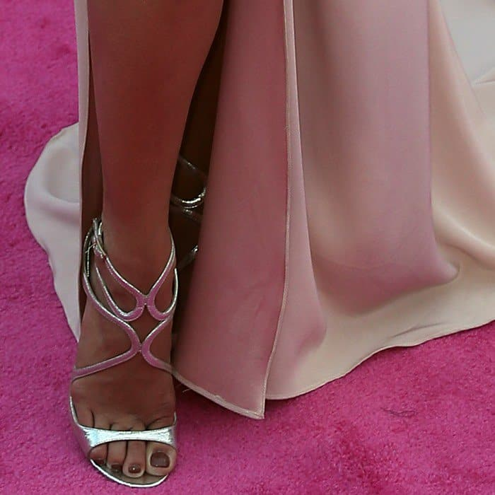 Vanessa Hudgens wearing strappy 'Lang' heels from Jimmy Choo