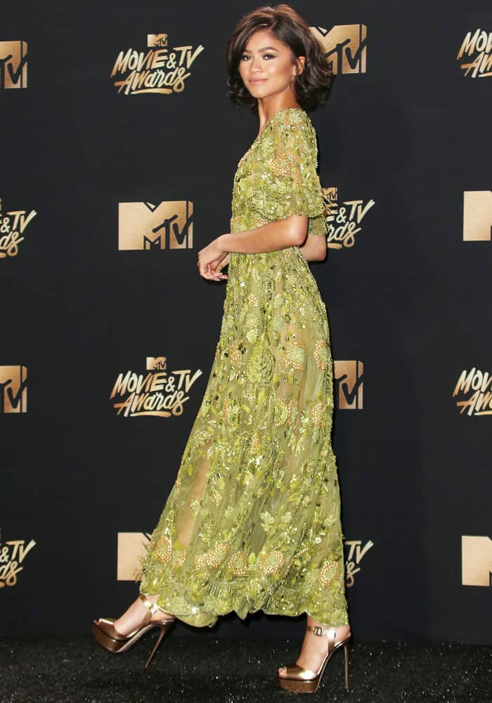 A feast for the color palate: Zendaya glows in her green-and-bronze look