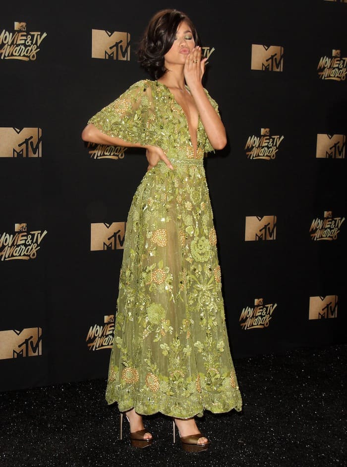 Zendaya stuns in a green Zuhair Murad creation for the MTV Movie & TV Awards on May 7, 2017 at the Shrine Auditorium in Los Angeles