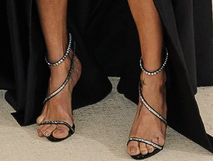 "Adriana Lima wearing Giuseppe Zanotti ""Calliope"" sandals at the 2017 Met Gala"