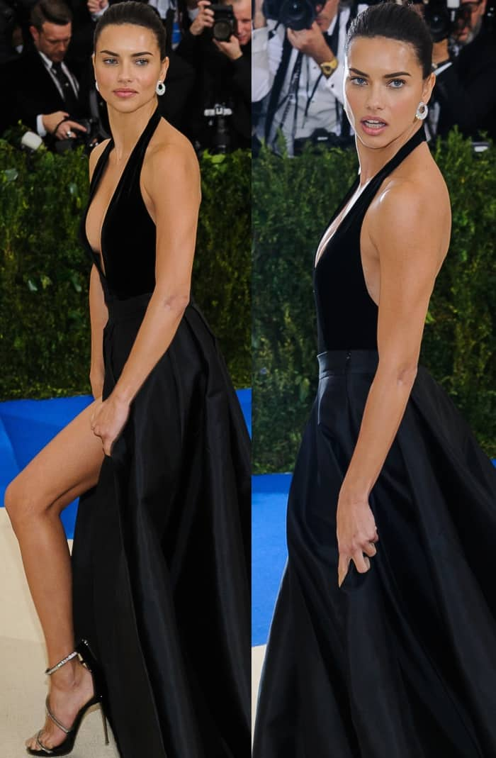 "Adriana Lima wearing a custom Alberta Ferretti look and Giuseppe Zanotti ""Calliope"" sandals at the 2017 Met Gala"