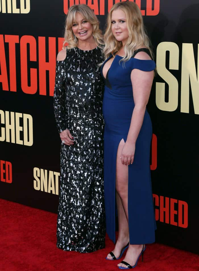 "Goldie Hawn in a custom Michael Kors Collection look and Amy Schumer in a custom Antonio Berardi gown and Giuseppe Zanotti ""Sophie"" sandals at the ""Snatched"" LA premiere"