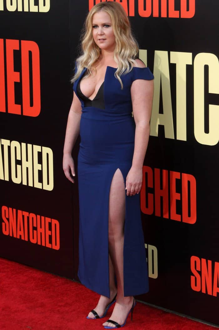 "Amy Schumer wearing a custom Antonio Berardi gown and Giuseppe Zanotti ""Sophie"" sandals at the ""Snatched"" LA premiere"