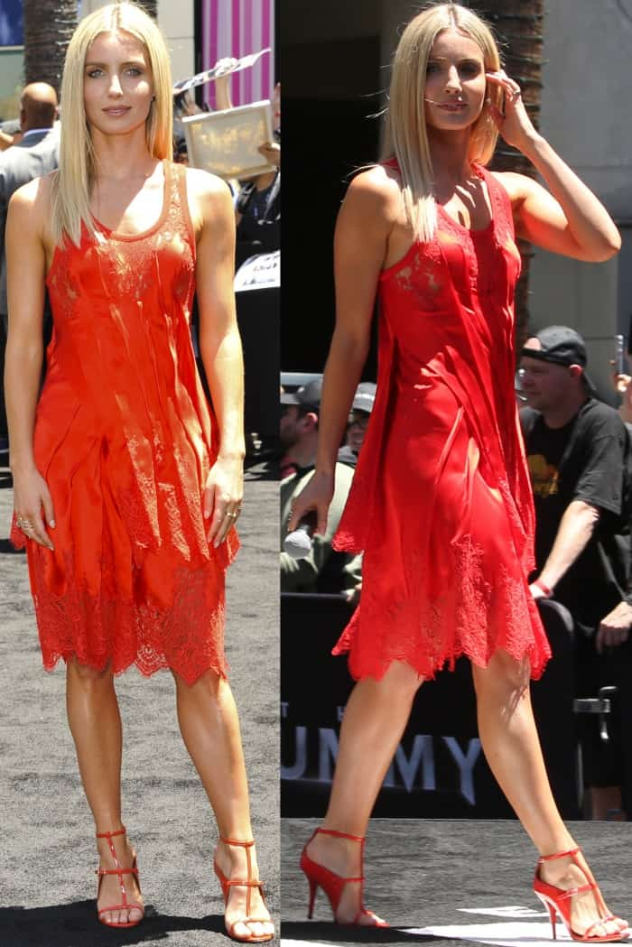 """Annabelle Wallis wearing head-to-toe Givenchy while celebrating """"The Mummy Day"""" at Hollywood & Highland in LA"""