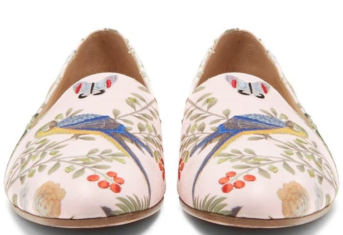 Aquazzura for de Gournay embroidered loafers