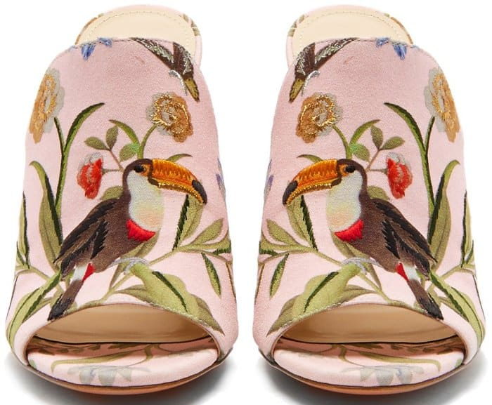 Aquazzura for de Gournay embroidered mules
