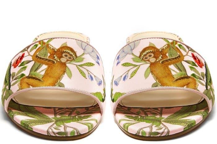 Aquazzura for de Gournay embroidered slides