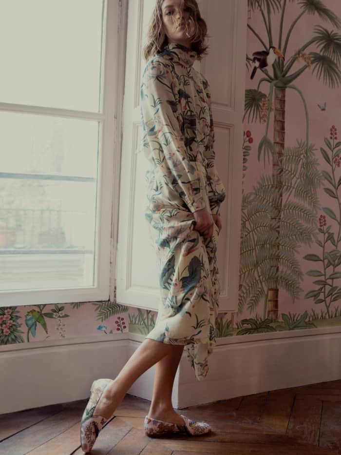 "Arizona Muse wearing the Aquazzura for de Gournay embroidered loafers with Stella Jean's ""Ottusa"" waterlily-print silk maxi dress"
