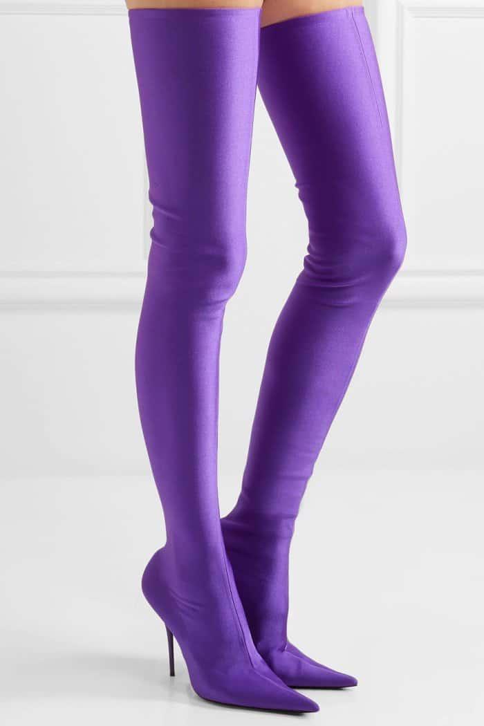 """Balenciaga """"Knife"""" Thigh-High Boots in Purple"""