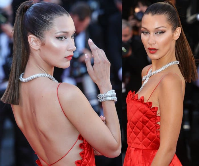 """Bella Hadid wearing a Christian Dior spring 2017 couture gown and black sandals at the 70th Cannes Film Festival """"Okja"""" premiere"""