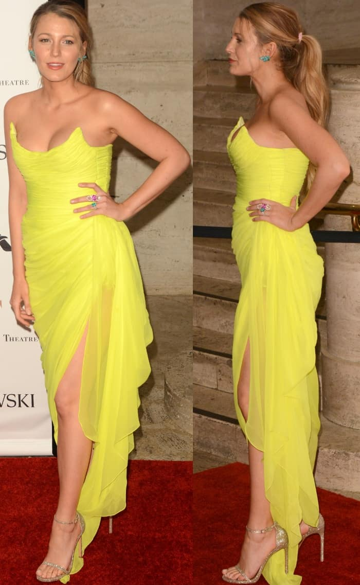 """Blake Lively wearing an Oscar de la Renta gown and Stuart Weitzman """"Nudist"""" sandals at the American Ballet Theatre Spring 2017 Gala"""