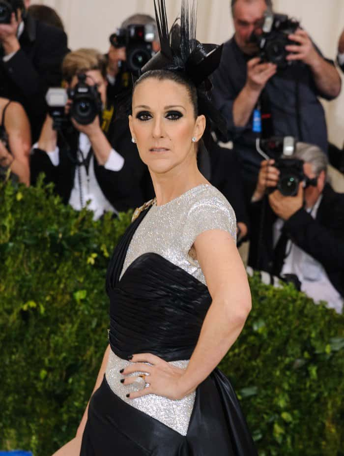 Celine Dion's sculptural updo added a cool edge to her ensemble