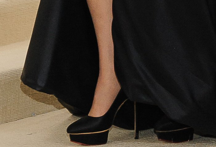 Celine Dion's Paloma black satin pumps from Charlotte Olympia
