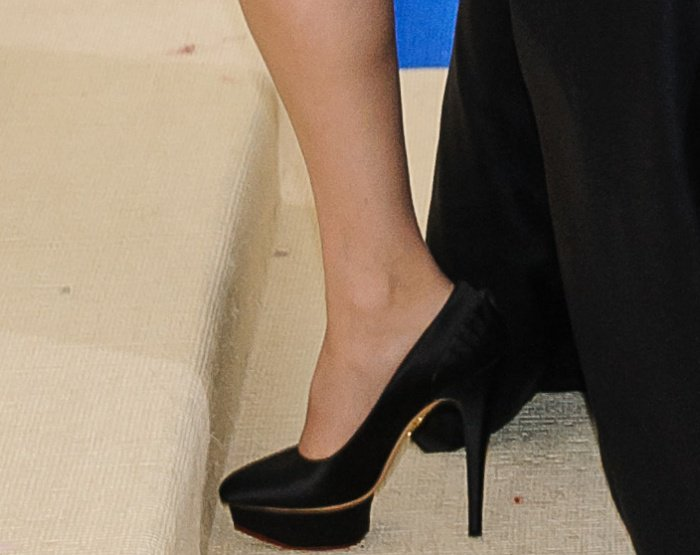 Celine Dion flashed her legs in Charlotte Olympia pumps