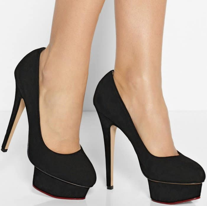 """Charlotte Olympia """"Dolly"""" Pumps in Black Suede"""