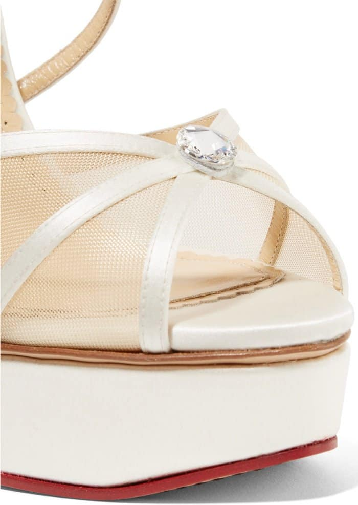 "Charlotte Olympia ""Isadora"" Embellished Satin and Mesh Sandals"