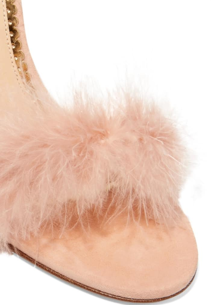 "Charlotte Olympia ""Salsa"" Feather-Trimmed Suede Sandals"