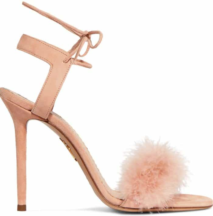 """Charlotte Olympia """"Salsa"""" Feather-Trimmed Suede Sandals"""
