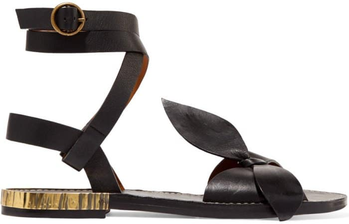 Chloe x Net-A-Porter bow-detailed embellished sandals in black leather