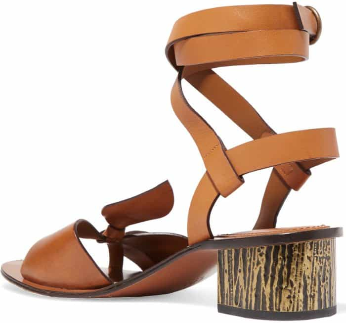 Chloe x Net-A-Porter bow-detailed embellished sandals in tan leather
