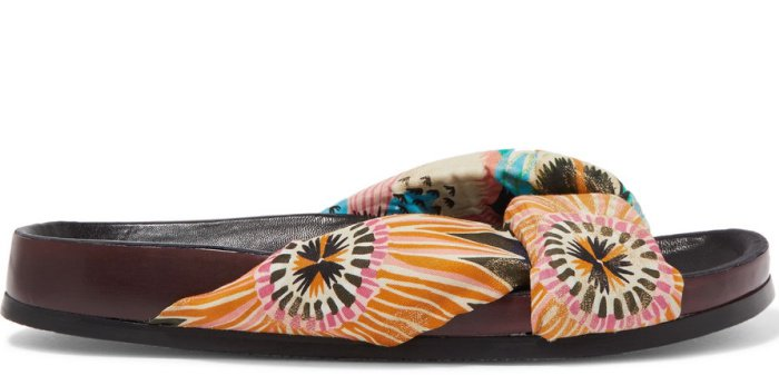 Chloe x Net-A-Porter floral-print satin and leather slides