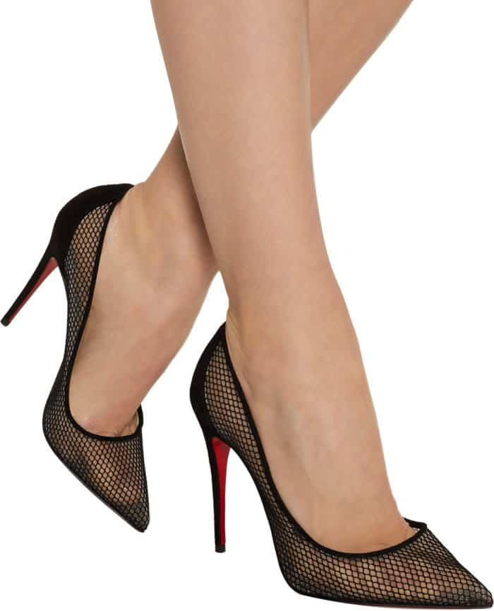 "Christian Louboutin ""Follies Resille"" Suede-Trimmed Mesh Pumps"