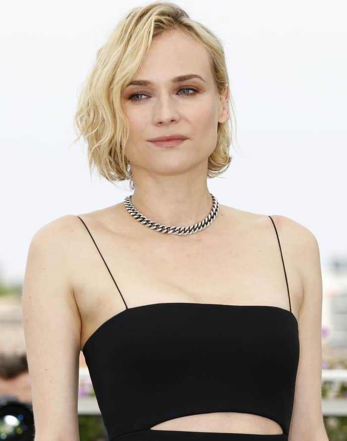 """Diane Kruger wearing a Boss fall 2017 dress and Robert Clergerie x Self-Portrait """"Leyla"""" sandals at the """"In the Fade"""" photocall during the 70th annual Cannes Film Festival"""