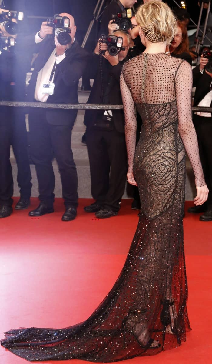 """Diane Kruger wearing a Jason Wu fall 2017 gown and black ankle-strap sandals at the """"In the Fade"""" premiere during the 70th annual Cannes Film Festival"""