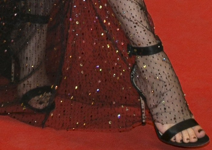 """Diane Kruger black ankle-strap sandals at the """"In the Fade"""" premiere during the 70th annual Cannes Film Festival"""